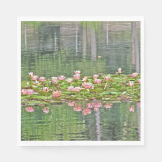 PAPER PARTY NAPKINS/PINK LOTUS BLOSSOMS/REFLECTION STANDARD LUNCHEON NAPKIN