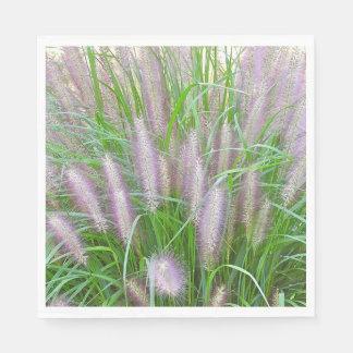 PAPER PARTY NAPKINS/PURPLE FOUNTAIN GRASS/PHOTOG. PAPER NAPKIN