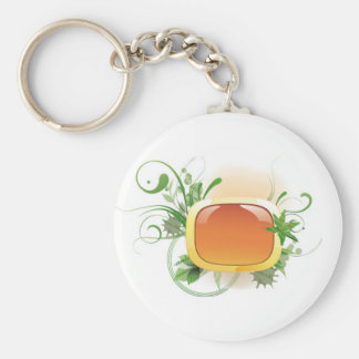 Paper pattern with green leaf 04 keychain