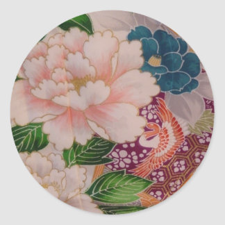 Paper Peonies from Japan Classic Round Sticker