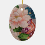 Paper Peonies from Japan Double-Sided Oval Ceramic Christmas Ornament