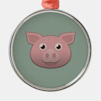 Paper Pig Metal Ornament