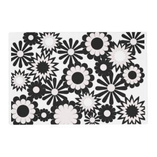 Paper placemat, floral, black, and white. laminated place mat
