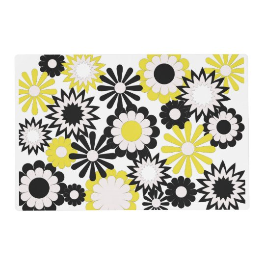 paper placemat  floral  yellow  black  and white  placemat