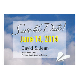Paper Plane in the Air Save the Date Announcement