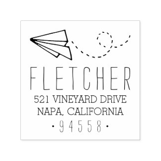 Paper Plane Return Address Self-inking Stamp