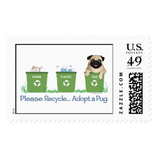 Paper Plastic Pug Postage Stamps