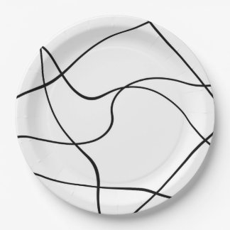 "Paper plate - ""Abstract lines"" - Black and white 9 Inch Paper Plate"