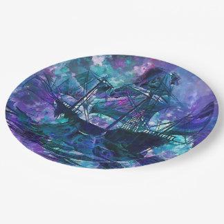 Paper plate abstract purple aqua ship