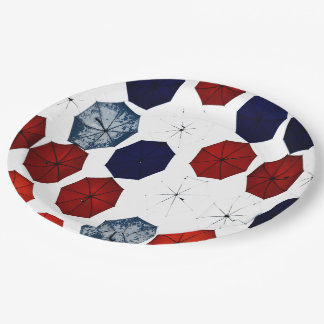 Paper plate abstract red blue  white umbrellas