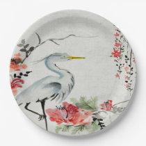 Paper plate   Asian crane flower pink