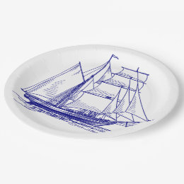 Paper plate  Blue sail boat ship nautical