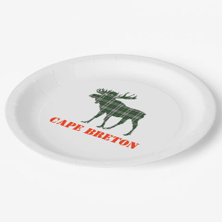 Paper plate  Cape Breton Tartan plaid moose