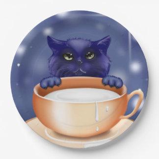 Paper plate cute kitty  cat blue