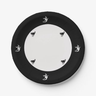 Paper Plate - Flying Witch and Black Cat 7 Inch Paper Plate