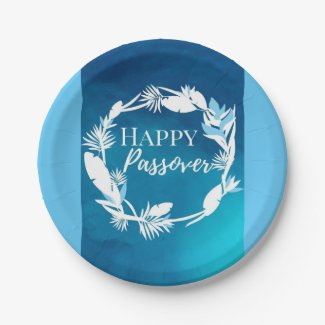 Paper Plate Happy Passover Blue Brown Wreath Flora