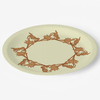 Paper Plate - Leaves in Circle (octagon) 9 Inch Paper Plate