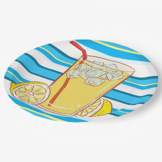 Paper plate Lemonade  blue yellow white striped