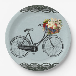 Paper plate  mint green ivory bicycle bike