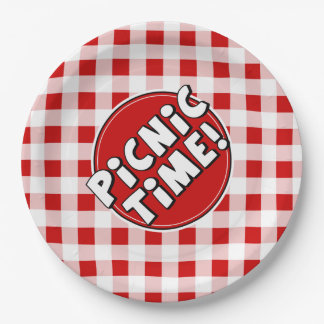 Paper Plate Picnic Time Red Gingham Pattern 9 Inch Paper Plate