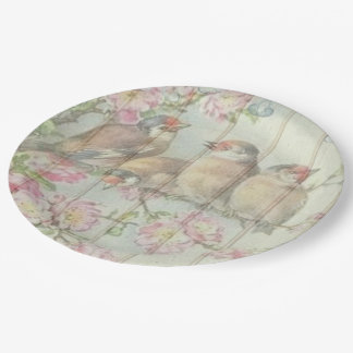 Paper plate Pretty song bird pastel