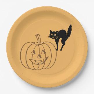 Paper Plate - Pumpkin and Black Cat 9 Inch Paper Plate