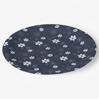 Paper plate retro blue aqua white flower