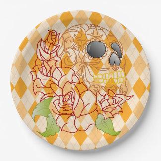 Paper plate Skull Retro yellow argyle rockabilly