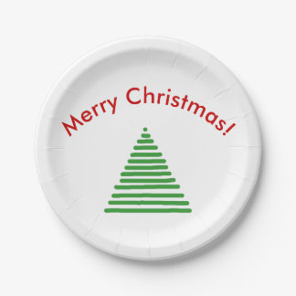 Paper Plate - Stylized Xmas Tree with Curved Text