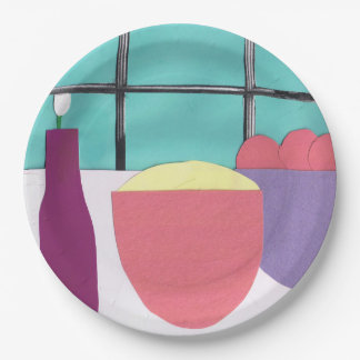 Paper Plate with a Kitchen Window Design