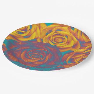 Paper plate Yellow aqua pink roses flower