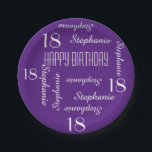 """Paper Plates, 18th Birthday Party Repeating Names Paper Plate<br><div class=""""desc"""">CHOOSE YOUR COLOR and create your own stylish, personalized paper plate for an 18th birthday party or any other occasion. Name and Age repeats in white. This style defaults to a deep purple background, but you can click CUSTOMIZE to easily select a different background color. You be the designer! Easy...</div>"""