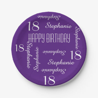 Paper Plates, 18th Birthday Party Repeating Names Paper Plate
