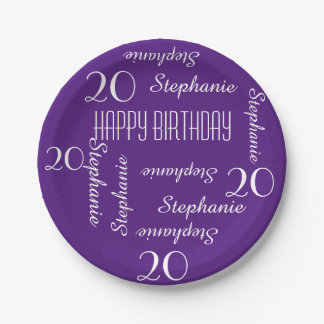 Paper Plates, 20th Birthday Party Repeating Names Paper Plate