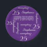 "Paper Plates, 25th Birthday Party Names Purple Paper Plate<br><div class=""desc"">CHOOSE YOUR COLOR and create your own stylish, personalized paper plate for a 25th birthday party or any other occasion. Name and Age repeats in white. This style defaults to a deep purple background, but you can click CUSTOMIZE to easily select a different background color. You be the designer! Easy...</div>"