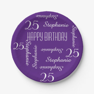 Paper Plates, 25th Birthday Party Names Purple Paper Plate