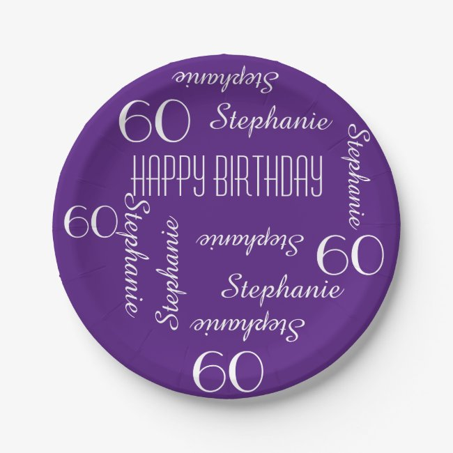 Paper Plates, 60th Birthday Party Repeating Names