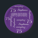 "Paper Plates, 75th Birthday Party Repeating Names Paper Plate<br><div class=""desc"">CHOOSE YOUR COLOR and create your own stylish, personalized paper plate for a 75th birthday party or any other occasion. Name and Age repeats in white. This style defaults to a deep purple background, but you can click CUSTOMIZE to easily select a different background color. You be the designer! Easy...</div>"