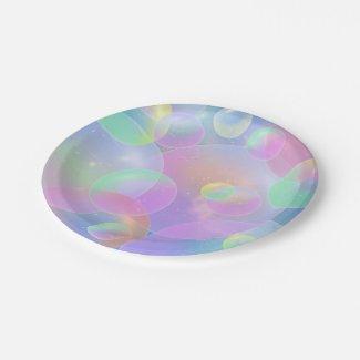 """Paper Plates 7 """"- Bubbles Design Plato De Papel"""