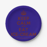 [Crown] keep calm and eat ice-cream  Paper Plates 7 Inch Paper Plate