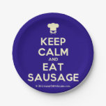[Chef hat] keep calm and eat sausage  Paper Plates 7 Inch Paper Plate