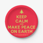 [Xmas tree] keep calm and make peace on earth  Paper Plates 7 Inch Paper Plate