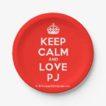 [Crown] keep calm and love pj  Paper Plates 7 Inch Paper Plate
