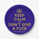 [Dancing crown] keep calm and don't give a fuck  Paper Plates 7 Inch Paper Plate