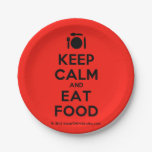 [Cutlery and plate] keep calm and eat food  Paper Plates 7 Inch Paper Plate