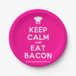 [Chef hat] keep calm and eat bacon  Paper Plates 7 Inch Paper Plate