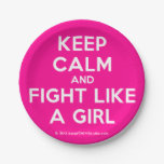 keep calm and fight like a girl  Paper Plates 7 Inch Paper Plate