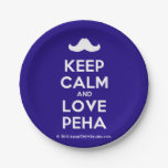 [Moustache] keep calm and love peha  Paper Plates 7 Inch Paper Plate