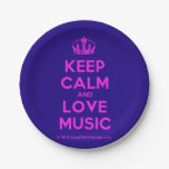 [Dancing crown] keep calm and love music  Paper Plates 7 Inch Paper Plate