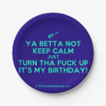 [Electric guitar] ya betta not keep calm just turn tha fuck up it's my birthday!  Paper Plates 7 Inch Paper Plate